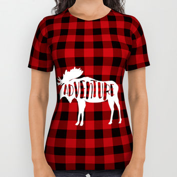 Red Buffalo Plaid Moose ADVENTURE typography All Over Print Shirt by art4sharing