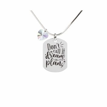 Inspirational Tag Necklace In AB Made With Crystals From Swarovski  - CALL IT A PLAN