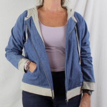 J Jill Jacket M size Zip Front Hooded Blue Denim Lined Box Fit All Season Casual
