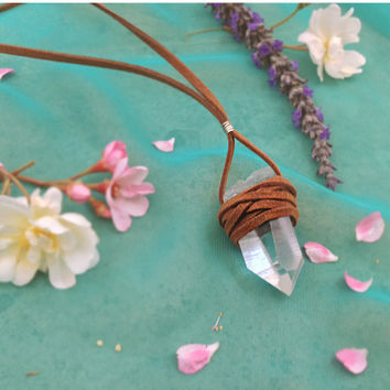 Echoz Crystals Lemurian Seed Quartz Leather Wrapped Necklace