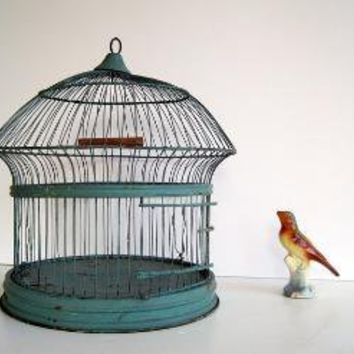 Antique Turquoise Vintage Birdcage Unique Shape by birdie1 on Etsy
