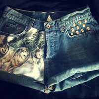 Call Of the Wild one with nature High Waisted Studded Levi Shorts