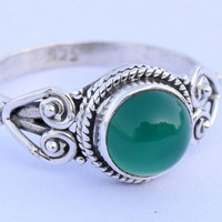 Green onyx Sterling silver solitaire stacking ring  silver green onyx green stone ring Size US 5 6 7 8 9 10 11 12 Gift Idea, Girlfriend gift