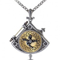 Astral Dragon Quadrant Enlightenment Locket - Based on a rare 16 Century occultist divination instrument, this lovely portrait locket is made in fine pewter with a brass inlay and dragon.