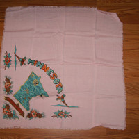 Vintage 1940s Head Or Neck Souvenir MINNESOTA Scarf Featuring State Name State Flowers And State Bird
