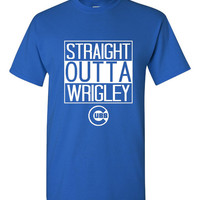 Straight Outta Wrigley Chicago Baseball Fan Graphic T Shirt ladies Mens Style Cubs Baseball Fan T Shirt