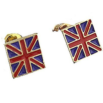 Basket Hill , British Flag and Gold Tones Post Earrings