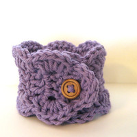 Purple Cuff Bracelet Cotton Crochet Metal Free Arm Wrap Jewelry