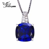 JewelryPalace Cushion 4.9ct Created Blue Sapphire Solitaire Pendant 925 Sterling Silver Women Jewelry  Fine Jewelry No Chain