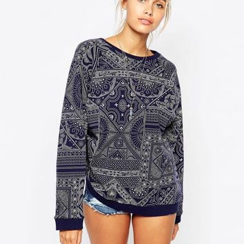 Element Boyfriend Sweatshirt In All Over Bandana Print co-ord