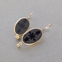 Antique Victorian MOURNING Earrings Solid 10K GOLD Earwires Carved Crosses Black Obsidian Earring Drops, Memorial Memento Mori Jewelry 1880s