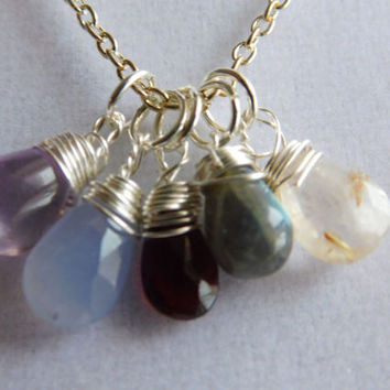 Amethyst Necklace * Blessed Gatherings * Lavender Chalcedony * Gold Rutilated Quartz * Garnet * Labradorite Jewelry * Silver Wire Wrapped