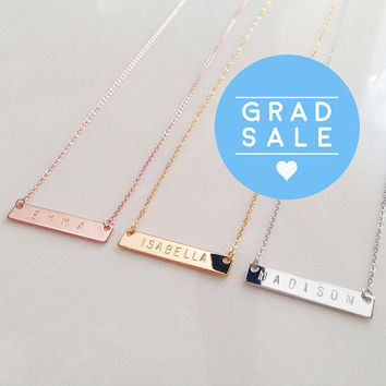 Personalized Name Bar Necklace Custom Name Necklace Bridesmaid Gift best friend necklace mother of the bride gift