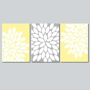 Yellow Gray Wall Art Bedroom Wall Art Bathroom Wall Art Bedroom Pictures Flower Wall Art Canvas Pictures Flower Burst Dahlia Prints Set of 3