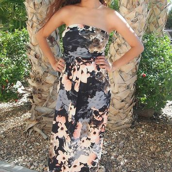 Show Me Off Strapless Watercolor Black Maxi Dress