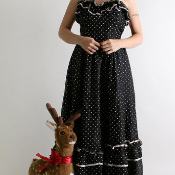 Vintage Gunne Sax Dress - Party Polka Dot Maxi by Jessica McClintock Gown - Medium Prom Queen Princess