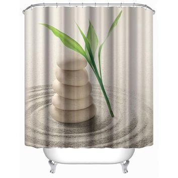 Bathroom Shower Curtain 3D Printed Stone Plant Sand Bath Curtains Waterproof  Polyester Door Curtain With Hooks(180*180cm)