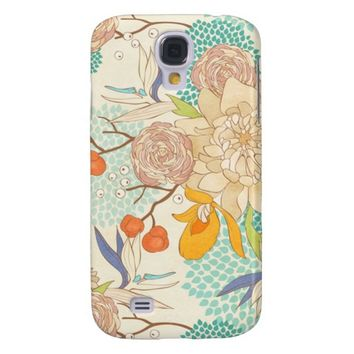 Modern Rose Peony Flower Pattern Galaxy S4 Cover
