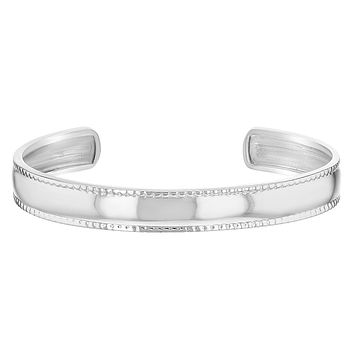 925 Sterling Silver Wide Plain Cuff Bangle Bracelet Baby Girls Infants Toddlers