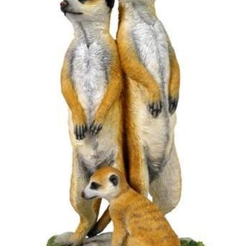 Meerkat Family of Three LIfelike Details Statue