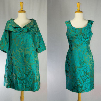 Vintage 50s Brocade Cocktail Dress and Coat Set Teal & Green