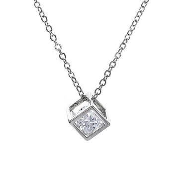 Fashion Square Cube Necklace&Pendant Crystal Long Statement Chain Necklace Jewelry For Women