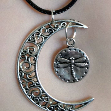 Dragonfly Moon Necklace on a Leather Cord