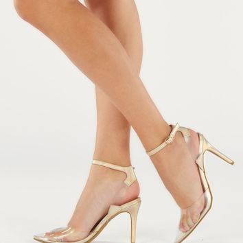 Iridescent Pointed Toe Ankle Strap Lucite Pumps