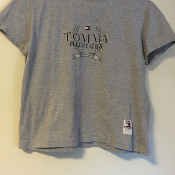 Tommy crop top Hilfiger shirt small, grey, flag logo, crest