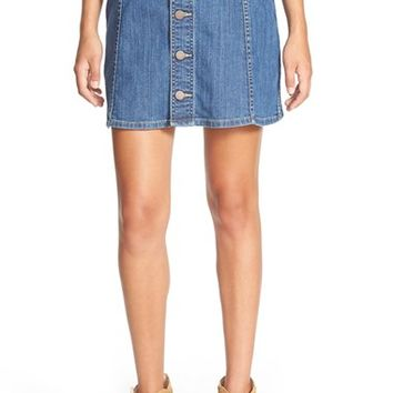 Women's Hinge Button Front Denim Skirt,