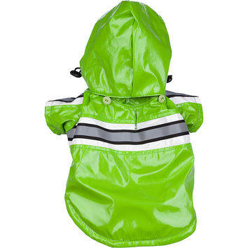 Reflecta-Glow Reflective Waterproof Adjustable Pvc Pet Raincoat - Green: X-Small