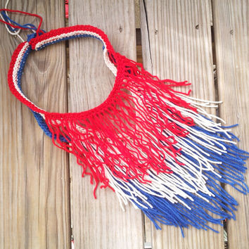 USA Colors Patriotic Hand Crocheted Bohemian Scarf, Summer Fashion, Memorial Day, July 4th, BBQ Outfit, Fringe  Scarf, Stars and Stripes