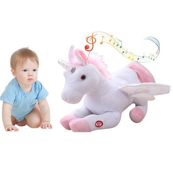 New Electronic Plush Unicorn Baby Toy LED Flashing Musical Doll Horse Wave Wing Toys Stuffed Animal Kids Birthday Gift
