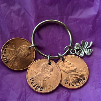 Name Penny Keychain - Penny Jewelry - Father's Day Gift - Keychain for Dad - Personalized Keychain - Penny Keychain - Lucky Penny Ke