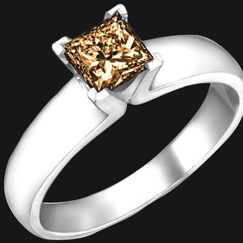 1 carat brown princess cut diamond solitaire ring new