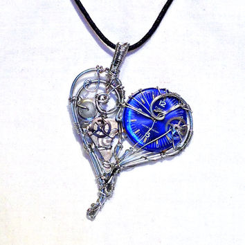 Silver and Blue Watch Movement Mechanical Steampunk Heart