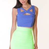 BLUE CUT OUT BUSTIER @ KiwiLook fashion