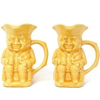 Toby Coffee Mugs, USA Pottery Yellow Toby Mugs, Toby Quaker Figurines,  Figural Coffee Cups, Vintage Yellow Mugs, Collectible, Coffee Cups