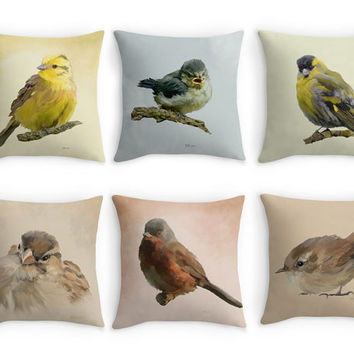Garden Birds Throw Pillow, Bird Scatter Cushion, 16x16, Fine Art Cushion Cover, Bird Lover Gift, Cottage Garden