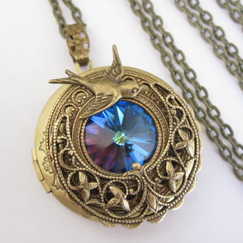 House Arryn - Swarovski Locket - Locket Necklace - Fantasy Necklace - Antique Locket  - Art nouveau necklace - Game of Thrones Jewelry
