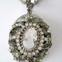 Hobe Cameo Locket Necklace // MOP Cameo Colored Rhinestones