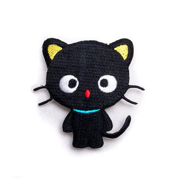Cute Black Cat / Iron-on Patch / Embroidery / Appliqué