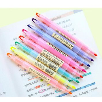 3Pcs 8Color Stationery Double Color Fluorescence Pen Highlighter Watercolor Mark Pen Stationery School supplies Gift