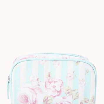 Striped Rose Small Cosmetic Pouch