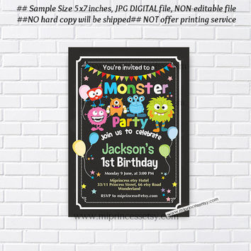 Little Monster Birthday invitation, monster party 1st 2nd 3rd 4th 5th 6th 7th 8th 9th 10th  kids birthday invitation chalkboard  - card 954