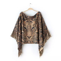 Tiger Print Fringed Asymmetrical Shirt