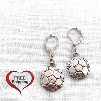 Soccer Ball Earrings, Sports Theme, Sports Jewelry, Cheer Jewelry, Soccer Stuff, Cheerleading, Soccer Team Gifts, Team Sport, 598