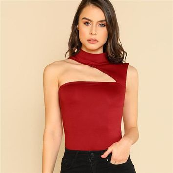 Fashion Summer Slim Fit Stretchy Sexy Red Crop Top Party 2018 Women Stand Collar Asymmetric Cutout Sleeveless Tank Tops