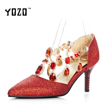 Women Shoes Fashion Crystal High Heels Pumps Women Elegant Luxury Sexy Wedding Party Pumps Bride Shoes Chaussures Femme