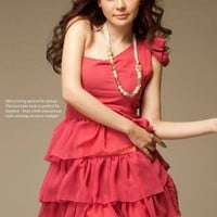 red one shoulder fashion bowknot layered dress : Wholesaleclothing4u.com